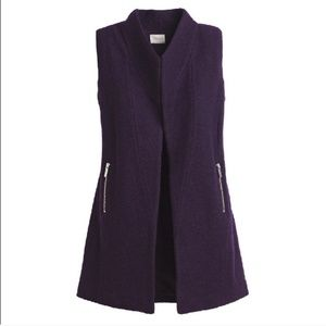 Chico's | Large 2 Purple Boiled Wool Vest New NWOT